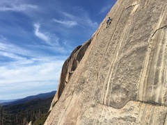 Munter Bitch 5.8*** at Doggy Dome, Shuteye Ridge. New route, just right of Living Water. 7 bolts and #3 cam. Chain anchors. FA Jeremy Ross/Tom Slater 11-25-17. 100' of sustained edging.