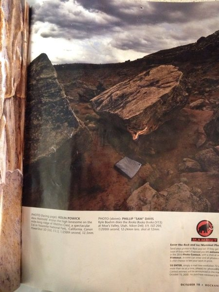 photo from rock and ice magazine of Kyle Boehm climbing booka booka booka V13 in moes valley utah