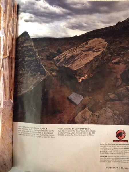 photo from rock and ice magazine of Kyle Boehm climbing booka booka booka V13 in moes valley utah