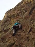 Rock Climbing Photo: Lisa heading into the crux....