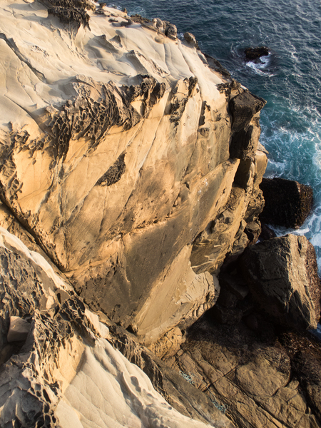 Salty Dog viewed from the rappel. You can see the reachy sloper hand rail. Wild!