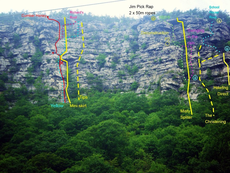"""Luke Douglas original photo with comment : """"The route Cumber Honey from the road below the cliff. The large red X is a block that could seriously ruin your day. It is huge and moves quite easily when touched on its left hand side. The huge roof on the right hand side of this photo is part of the Jim Pick Wall.""""  <br> <br> I added some extra data where I thought the descriptions matched the routes or to routes I have climbed. <br> <br> If you spot any errors or can confirm more routes let me know!"""