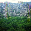 "Luke Douglas original photo with comment : ""The route Cumber Honey from the road below the cliff. The large red X is a block that could seriously ruin your day. It is huge and moves quite easily when touched on its left hand side. The huge roof on the right hand side of this photo is part of the Jim Pick Wall.""  