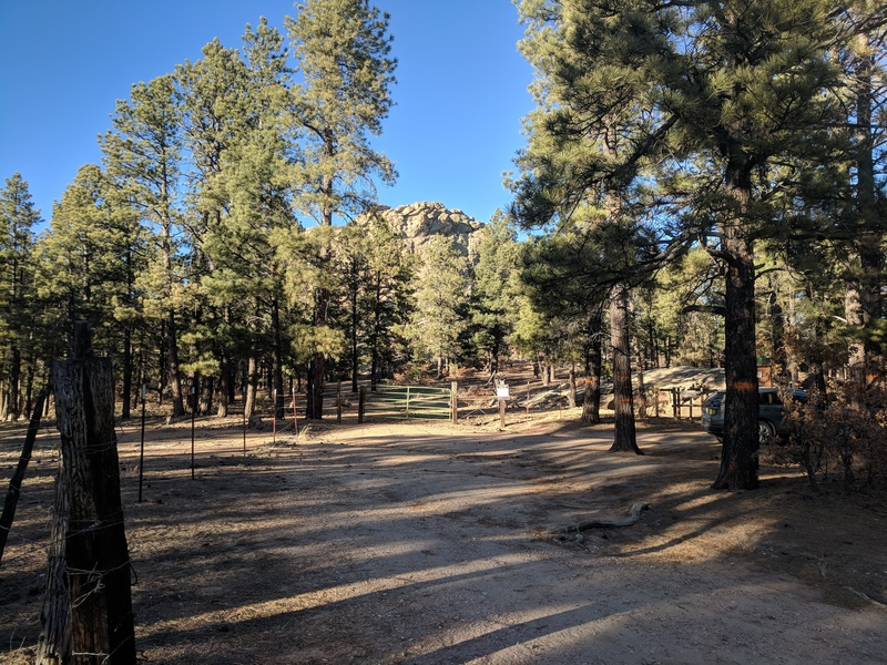 Here's the gate in the parking area. There are 2 trails, 1 on private land and 1 on public. The private land trail takes you directly to the base of Mosaic Rock in only .1 miles
