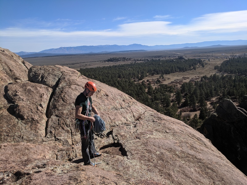 After topping out Chicken Heads, take a second to enjoy the view, then walk off the East side of the formation.