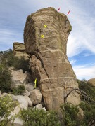 Rock Climbing Photo: Route w bolts marked in yellow.  Red arrows mark...