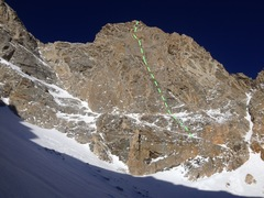 Cloudveil Dome, South Face, Armed Robbery, marked in green