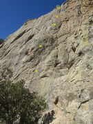 Rock Climbing Photo: Route with bolts marked.