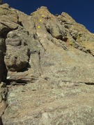 Rock Climbing Photo: Looking up the route with the first few bolts mark...