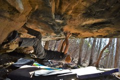Rock Climbing Photo: Tyler pulling through heinous ripples below the lo...
