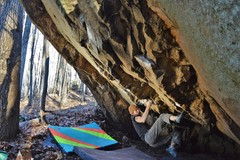 Rock Climbing Photo: T-Hosk working through pinches on MKUltra