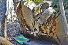 Rock Climbing Photo: Marshall Gilbert winding up for the big bump on MK...
