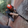 Nearing the chains. There's a reason this climb is on the cover of the first few editions of the guidebook!