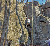 Rock Climbing Photo: Yuon Tai climbing the crux on route Woolworths Cor...
