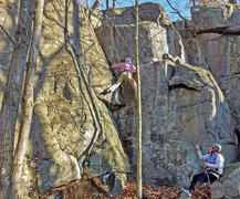 Rock Climbing Photo: Karel climbing up crux on Woolworths Corner with S...