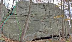 Rock Climbing Photo: God Jam - Left side: Z. Dojo bottom-top Access A...
