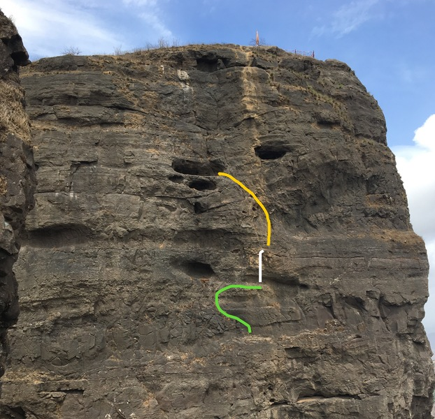 4th pitch. Green line 5.9. White line bouldery moves. Yellow 5.10