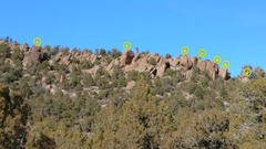 Rock Climbing Photo: The view of Sprocket Rocks from approach. Arrows m...