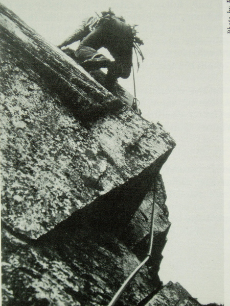 """Leading the """"Pipe Pitch"""" in the """"good old days"""" of vibram boots and pitons-and-hammer protection. Circa 1968, photo by the late Ed Nester"""