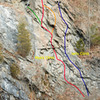 BLUE: Ian's Climb, RED: Mya's Climb, ORANGE: Mya's roof variation, GREEN: Route to traverse line (other climbs)