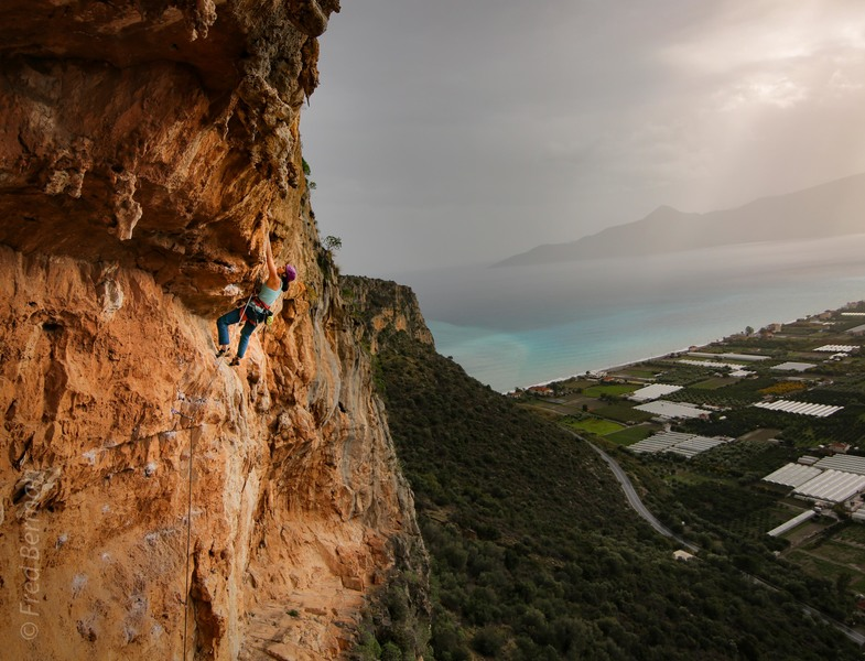 Stephanie Alessandrine on the final overhang of Dali