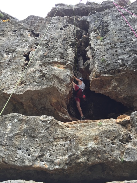 Heading up Middle Earth Cave. Belayed from My Precious