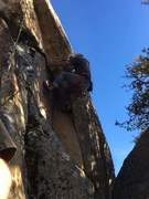 Rock Climbing Photo: Mike Arechiga on the fun 5.10d on the Upper Wall.