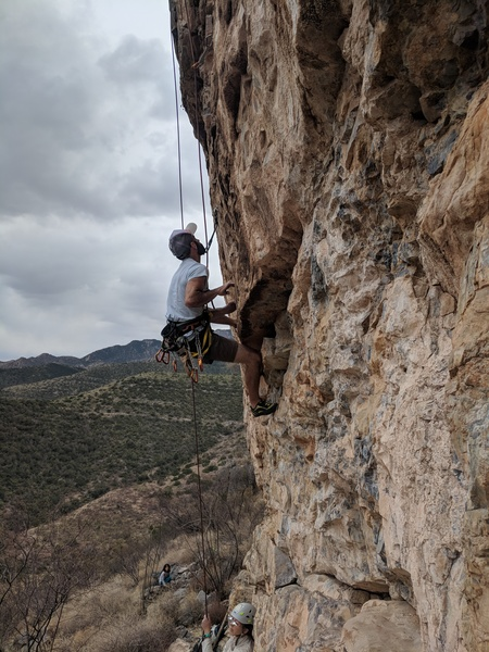 Brett working the first crux