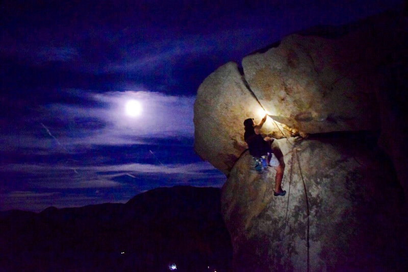 Night climb with the moon