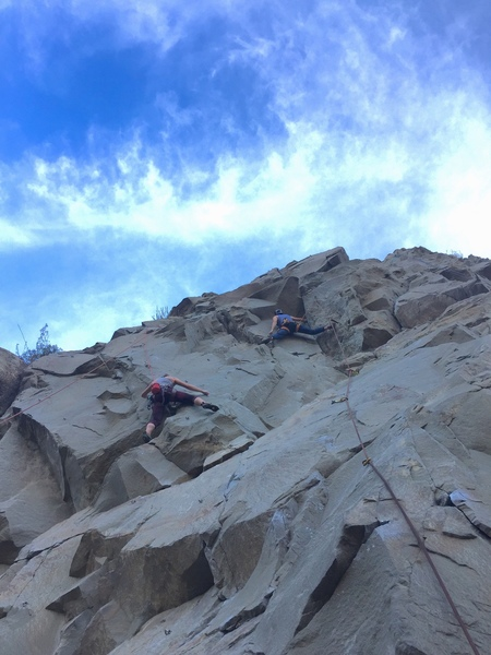 On Circus midget (right). Climber on the left is on Perro