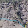 Yellow Line: Well Gulch Nature Trail<br> Blue Line: Overlook Train.<br> <br> 1. Rhino Boulder.<br> 2. Forest Spirit Boulder.<br> 3. Heartbreak Repair Shop.<br> 4. Epic Project Boulder.