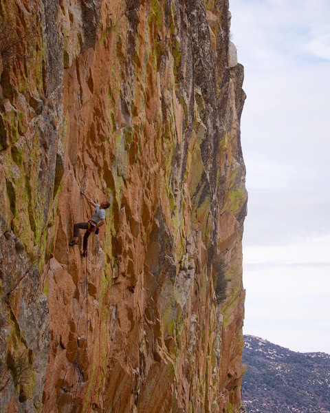 Jack H on the FA of the extension eyeing the crux ahead, first anchor visible behind him (12/3/17)