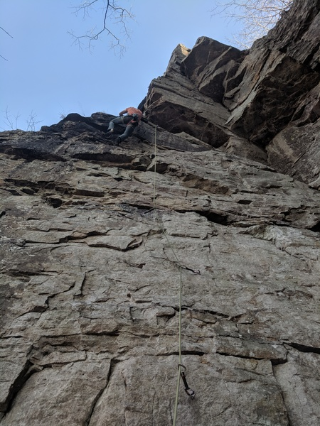Jon gets ready to top out the first wall and transition onto the arete to finish it up.