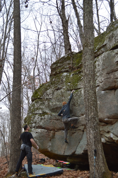 Tyler tossing to the big ledge of Gallop