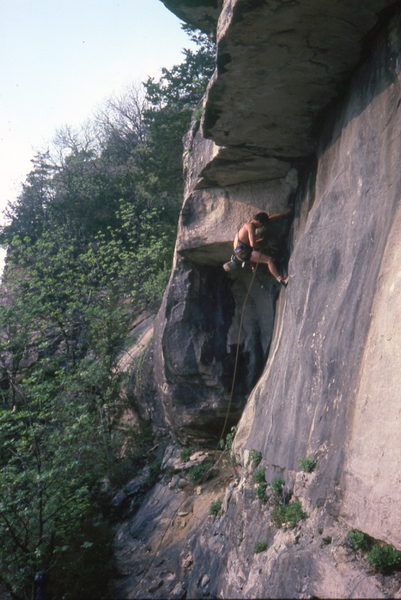 Tom Evans on an early ascent of the Aid Roof in the late '70s.