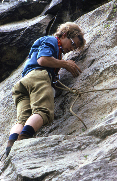 Mid MO climbing circa 1974.  Note the Goldline rope, knickers, swami, and RD shoes.