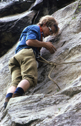 Rock Climbing Photo: Mid MO climbing circa 1974.  Note the Goldline rop...