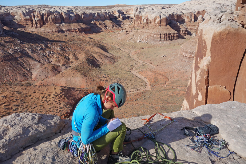 Emily signs in for our Black Friday 2nd ascent, a year after our Thanksgiving FA.