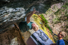 Sending Tome's Roof V6 at Smuggler's Notch. pic by Jared Heath