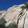 Dyke Stretcher goes up the smooth brown face to the dyke, left of the cracks.