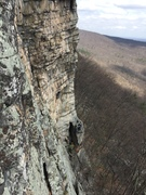 Looking down at belayers on feast of fools, from cold turkey at the gunks!