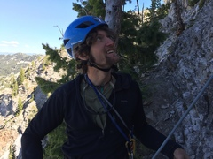 Niels giving me the subtle A-OK after watching me install a belay bolt during the FA of Chimera.  <br />Miss you Niels, miss you badly.