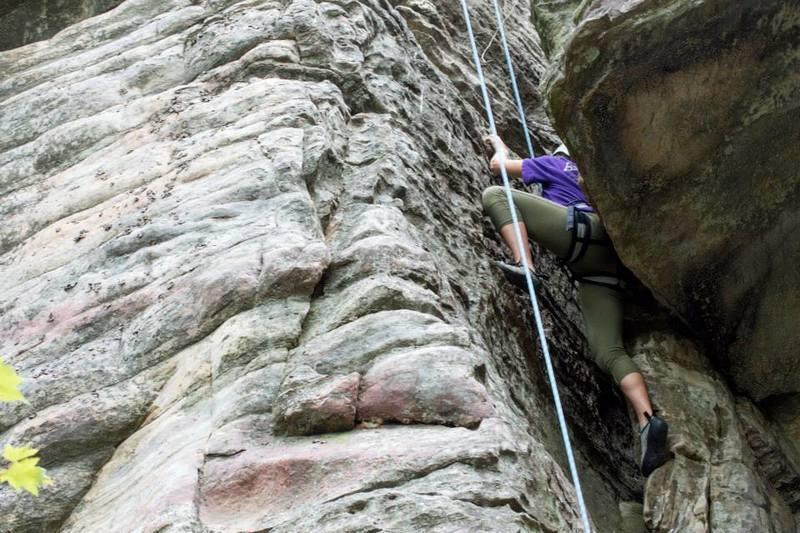 Melissa Henley Climbing through the chimney portion of the climb.