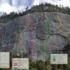 Full spread of established lines. This dome saw ascents as early as the 1960's, with lines slowly put up over the years. This topo is posted at the Chinualna Falls trailhead.