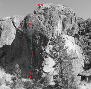 Over the Fern and Through the Bulge route on The Spire, Split Rock
