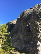 """Cadence Brown on the """"Over the Fern and Through the Bulge to Grandmas"""" route on The Spire, Split Rock"""
