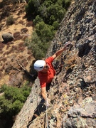 Geoff L approaching the P1 anchor on The Powers That Be