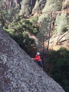 Hilary B approaching the P2 anchor on Machete Direct. It is easy to link the first two pitches.