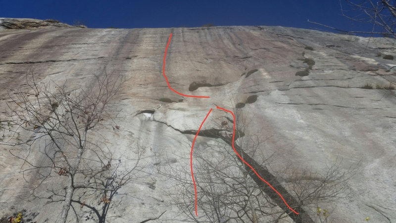 The normal wide flake start (right) and the 11b face variation (left) and the upper face of pitch 2.