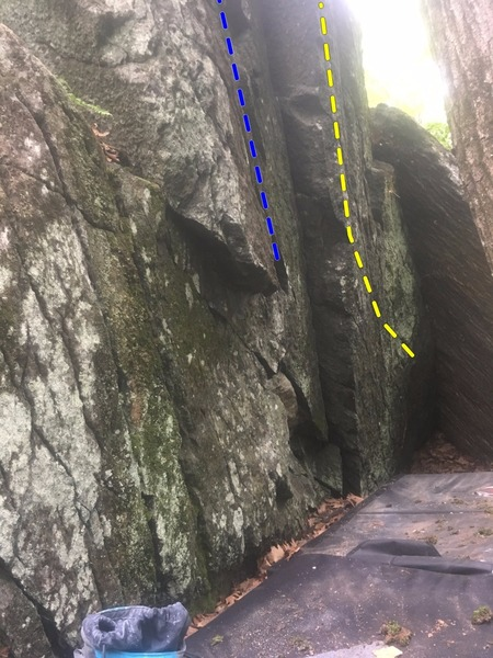 The overhanging front. Yellow is the Tetrahedral Dilemma. Blue is spider crack. How Low can You Go starts on the clear undercling and goes into the Spider Crack.